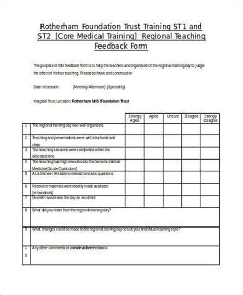 teaching feedback form template teaching feedback forms free substitute report