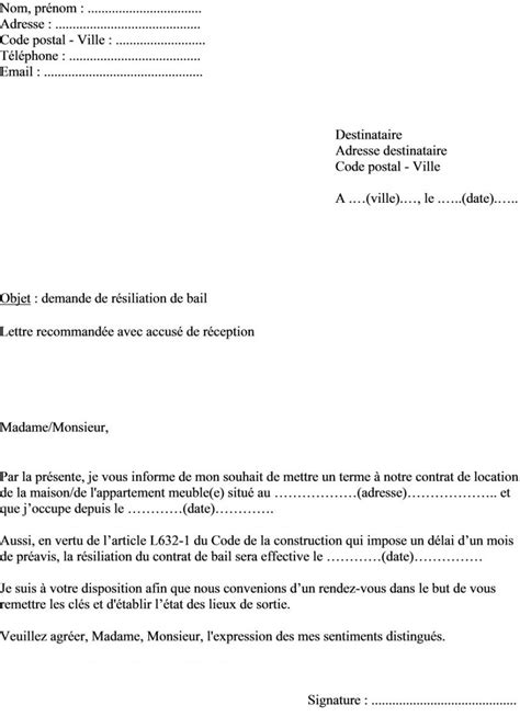 Fin De Contrat De Location 4183 by Modele Lettre Preavis Appartement Meuble 1 Mois Document