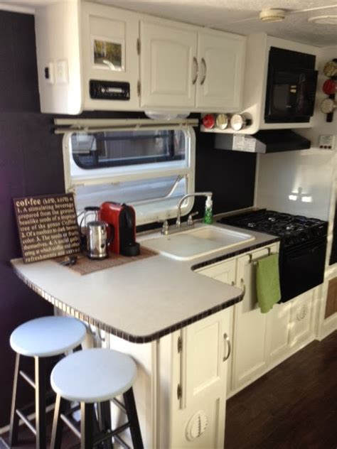 tiny kitchen remodel the reveal of our rv kitchen renovation traveling triads travel trailer remodel reveal