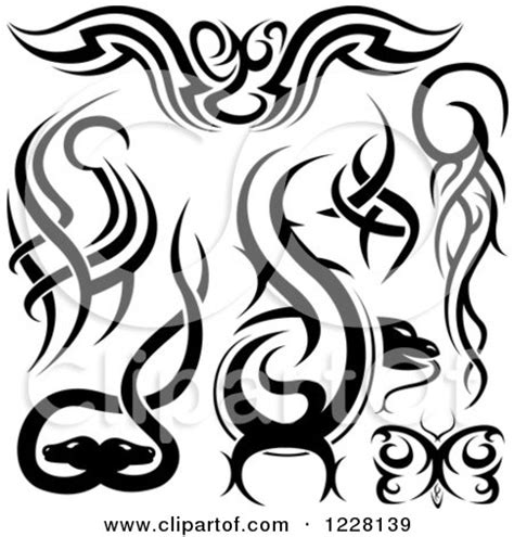 clipart of black and white tribal tattoo designs royalty
