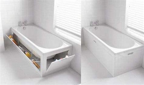 space saving bathtub space saving bathtubs stowaway bath panel storage system