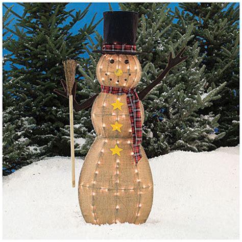 big lots outdoor decorations 4 pre lit burlap snowman big lots