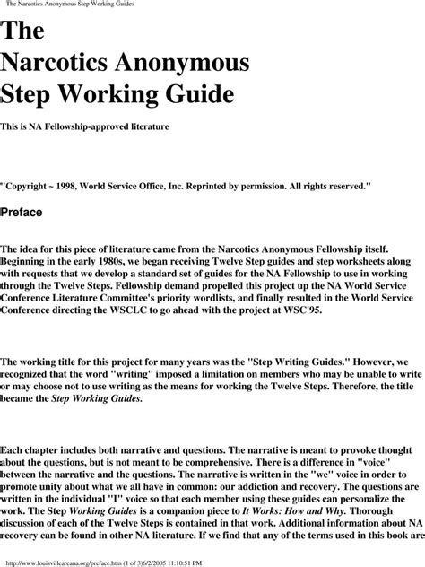 Na Step Working Guide Printable