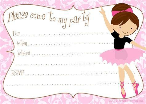 printable party invitation kits printable free diy ballerina party invitations party
