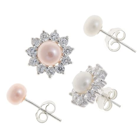jokara freshwater pearl earring set cubic zirconia and
