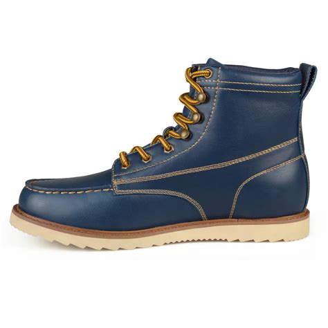 mens construction work boots daxx mens lace up faux leather moc toe work boots shoes