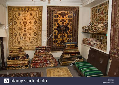 carpet and rug shop rugs and carpets on sale in interior design shop in kabul afghansitan stock photo royalty free