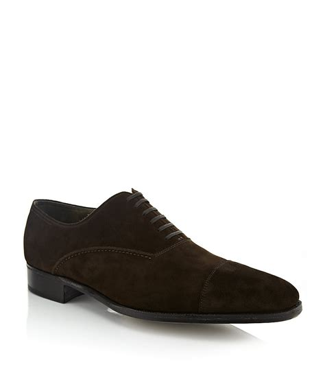shop oxford shoes lobb suede oxford shoe in brown for lyst