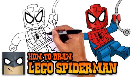 tutorial lego man how to draw lego spiderman drawing tutorial youtube