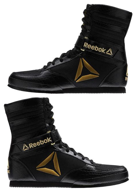 gold boxing shoes reebok boxing boot black gold