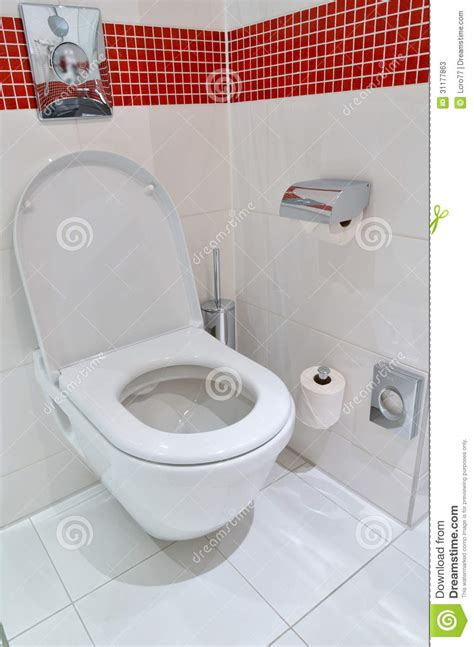 toilet in the bathroom toilet on the white floor tiles stock image image 31177863