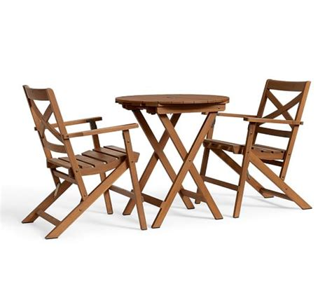 Teak Bistro Table And Chairs Hstead Teak Fixed Bistro Table Chair Set Honey Pottery Barn