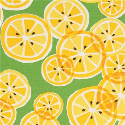 Kitchen Rugs Fruit Design green michael miller fabric with yellow lemon slices