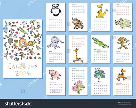 doodle email calendar calendar 2016 doodle animals for every month vector