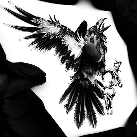 black and white new crying raven tattoo design