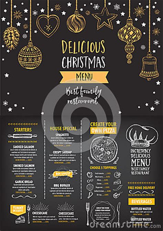 christmas party invitation restaurant food flyer stock