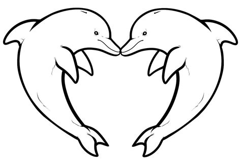 animal coloring pages dolphin two dolphins forming a heart animals coloring pages