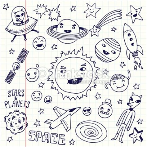 doodle 2 vs galaxy and planets doodle set school notebook vector
