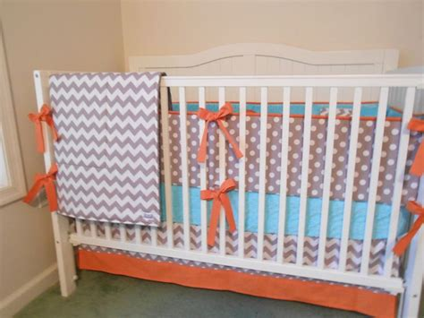 Aqua And Grey Crib Bedding Crib Bedding Set Gray Aqua Orange