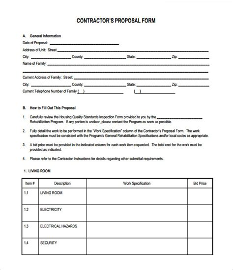 Contractor Bid Template Free Sle Contractor 7 Documents In Pdf Word