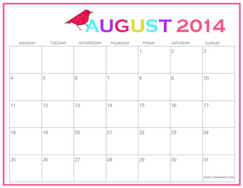 2014 printable monthly calendar cute cute printable 2014 calendar calendar template 2016