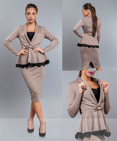 s tricot peplum top pencil skirt suit set