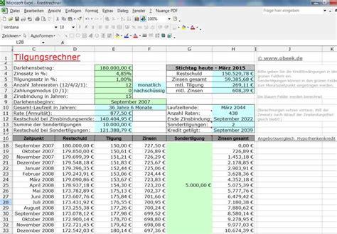 excel kreditrechner kostenlos ms excel tilgungsplan f 252 r annuit 228 tendarlehen
