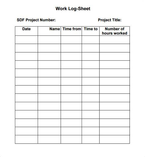 Log Sheet Template by 6 Sle Printable Work Log Templates Sle Templates