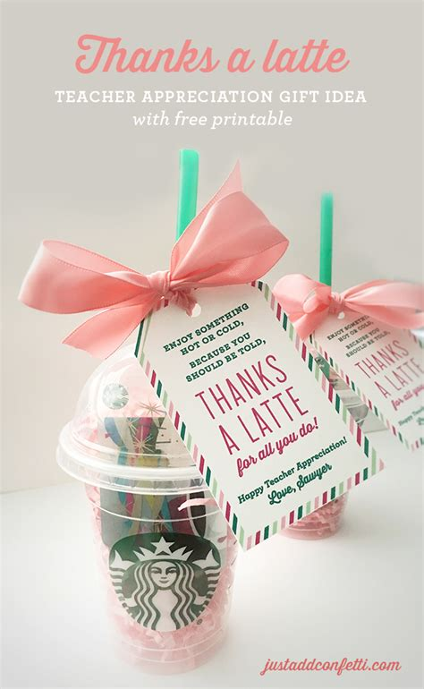 gifts ideas thanks a latte teacher appreciation gift idea with free