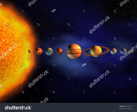 3d solar system diagram diagram planets solar system 3d render stock illustration