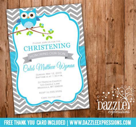 free printable christening invitation maker owl chevron baptism or christening invitation printable