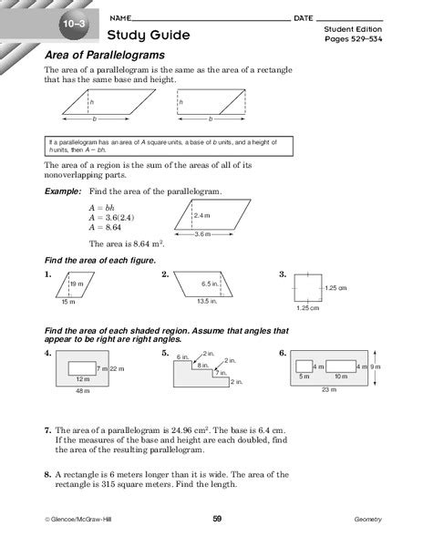 Finding The Area Of Parallelograms Worksheets