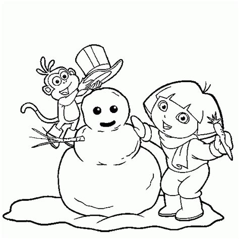 Dora Winter Coloring Pages | winter coloring coling dora boots snowman winter