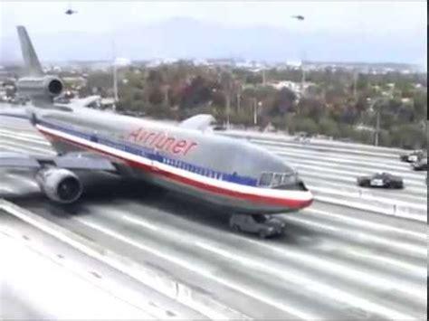 plane crash landing  highway youtube