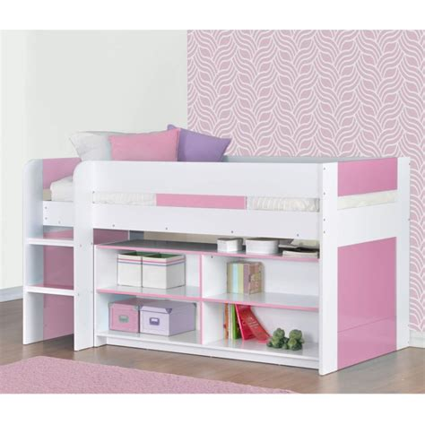 Sleeper Yoyo by Yoyo Mid Sleeper Bed In White Pink With Shelving
