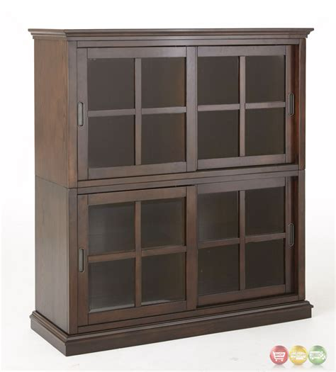 tenton stackable closed bookcase with sliding doors in