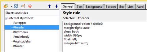 tutorial css kompozer kompozer template header