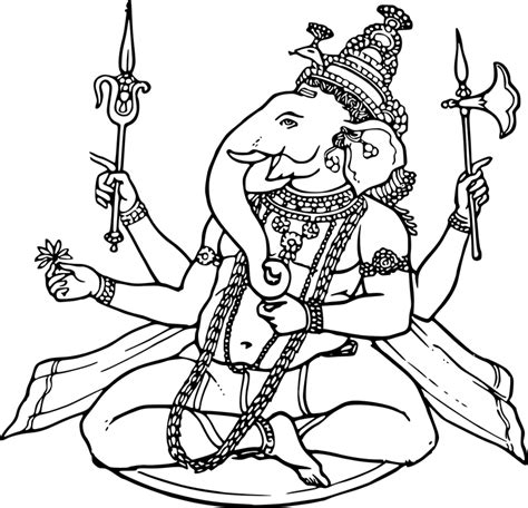 war elephant coloring pages ganesha sketch draw 183 free vector graphic on pixabay