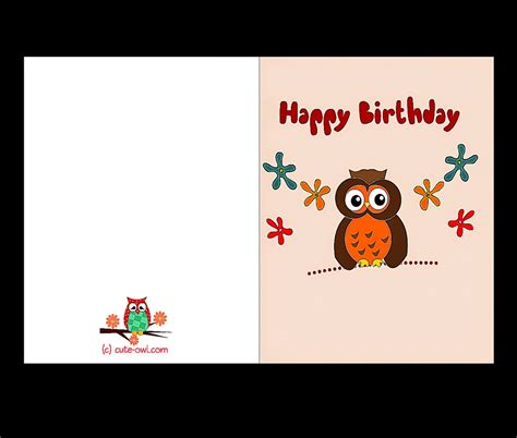 printable owl birthday card birthday cards printable free coloring sheet