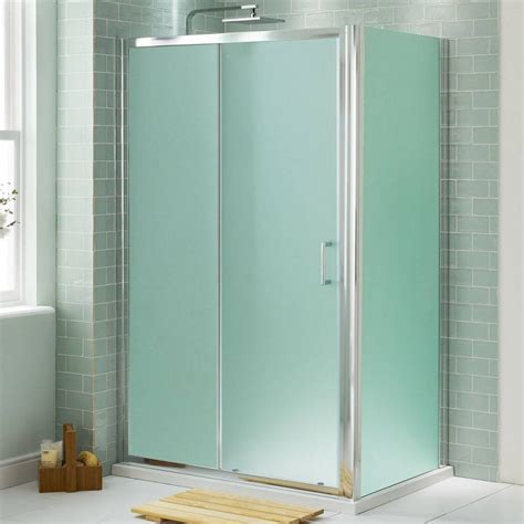 Shower Room Doors Small And Narrow Shower Bathroom Design With Opaque Glass Door And Wall Room Divider In The