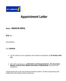 Appointment Letter In Word Format Sle Appointment Letter 8 Exles In Pdf Word
