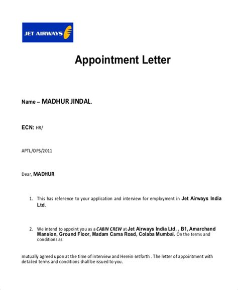 appointment letter in sle appointment letter 8 exles in pdf word