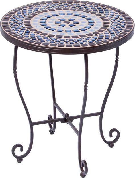 Alfresco Home Tremiti Wrought Iron Mosaic 20 Round Side Rod Iron Patio Table