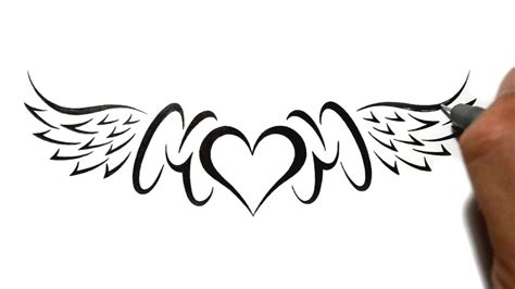 drawing mom with a heart and wings lowerback tattoo design
