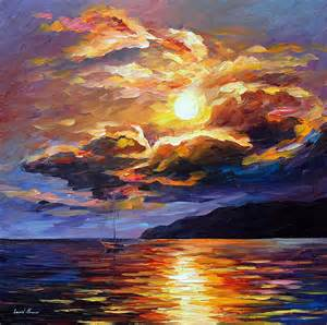 Gold clouds palette knife oil painting on canvas by leonid afremov