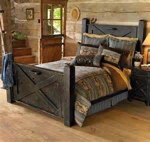 Western Bed Frame Designs Black Barn Wood Bed Bedroom Ideas