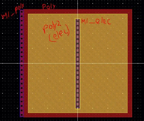 capacitor layout in cadence layout of a poly poly cap using the ncsu setups