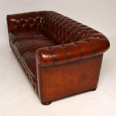 Antique Leather Three Seat Chesterfield Sofa For Sale At Antique Chesterfield Sofa For Sale