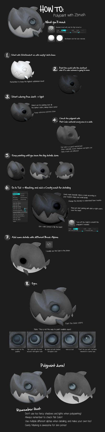 zbrush tutorial polypaint how to polypaint with zbrush by k4ll0 zbrush tutorials