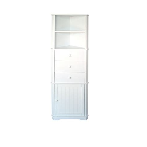White Wood Bathroom Kitchen Corner Unit Cupboard Drawers Corner Storage For Bathroom